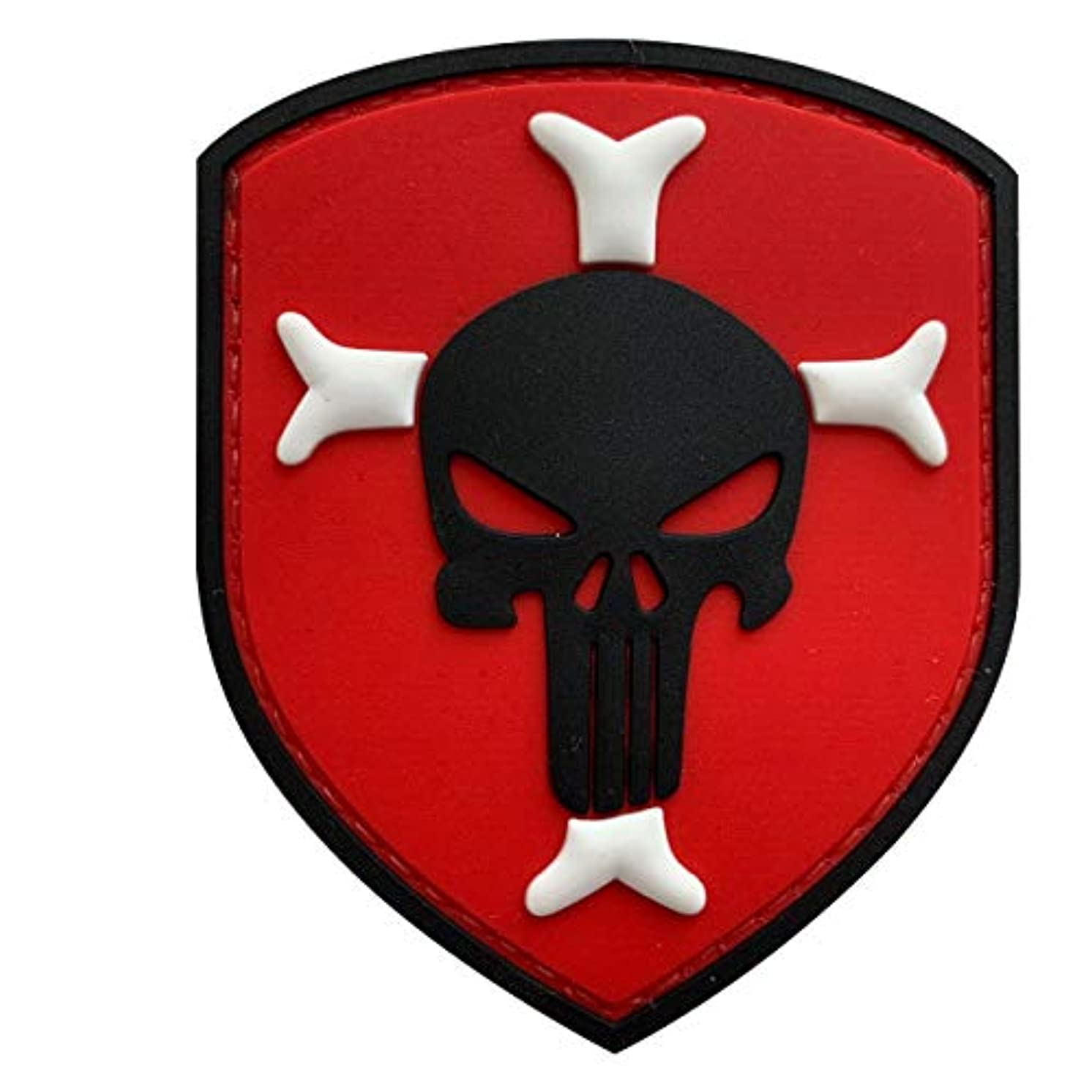 Knights Templar Cross Crusaders Shield with Punisher Military Tactical Morale Patch for Military Tactical Airsoft Gear (Red)