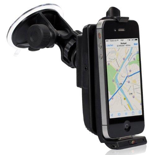 iGrip - Supporto da auto per iPhone con SIRF III GPS, impianto vivavoce bluetooth e altoparlante per Apple iPhone 3/3G/4/4S e iPod Touch 3/4