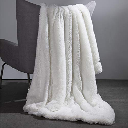 Bedsure Super Soft Fuzzy Faux Fur Reversible Sherpa Fleece Throw Blanket for Sofa, Couch and Bed - Warm Thick Fluffy Blanket as Gift,Plush Throw (50x60 inches, White)