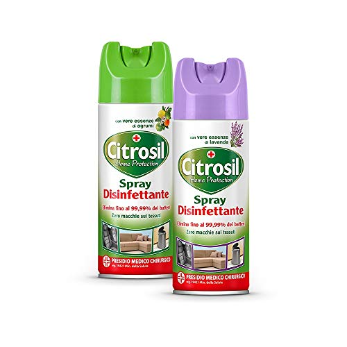 Citrosil Home Protection, Spray Disinfettante Superfici Multiuso, Elimina fino al 99,9% dei batteri, con Vere Essenze di Agrumi + Home Protection, Spray Disinfettante con Vere Essenze di Lavanda