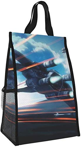 Bolsa de almuerzo plegable, bolso de picnic portátil de gran capacidad para avión, para viajes de oficina y trabajo