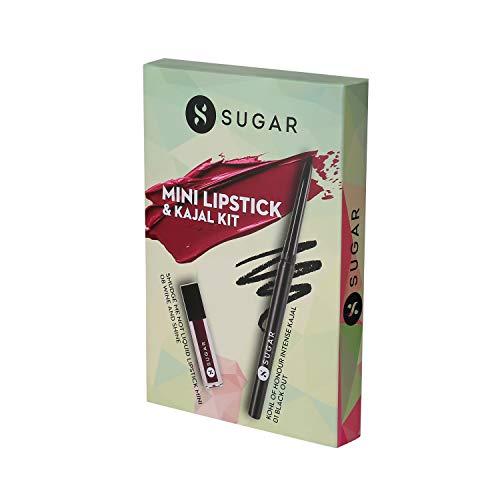 SUGAR Cosmetics Kohl Of Honour Intense Kajal, 01 Black Out (Black) +Sugar Smudge Me Not Liquid Mini Lipstick - 08 Wine and Shine,...