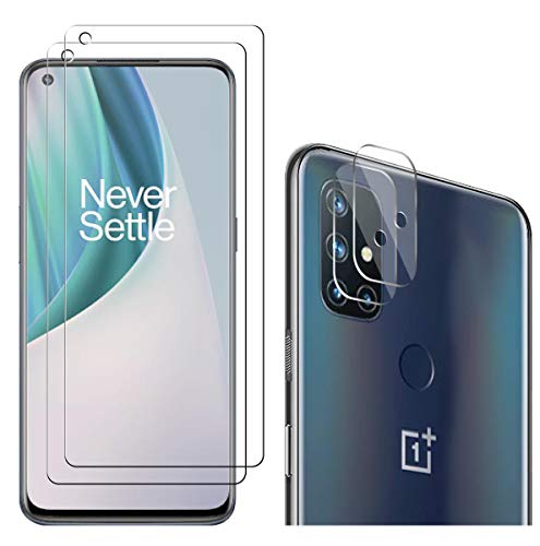 【4 Pack】 A-VIDET for OnePlus Nord N10 5G 2 Screen Protector + 2 Camera Lens Protector, 9H Hardness Screen Protector, high-Definition Transparent Scratch-Resistant, Non-Bubble Glass Screen Protector