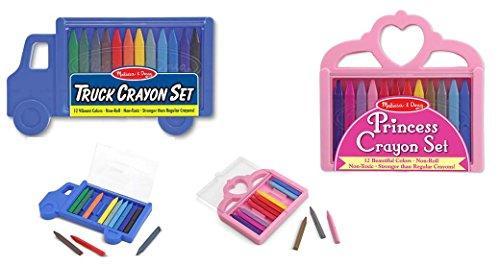 Melissa and Doug Truck Crayon Set and Princess Crayon Set / for age 3+ Non-Toxic