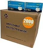 2000 PCS Wholesale Bulk Disposable Face Masks Blue (40 Boxes, 50pcs/Box), 3-Layers