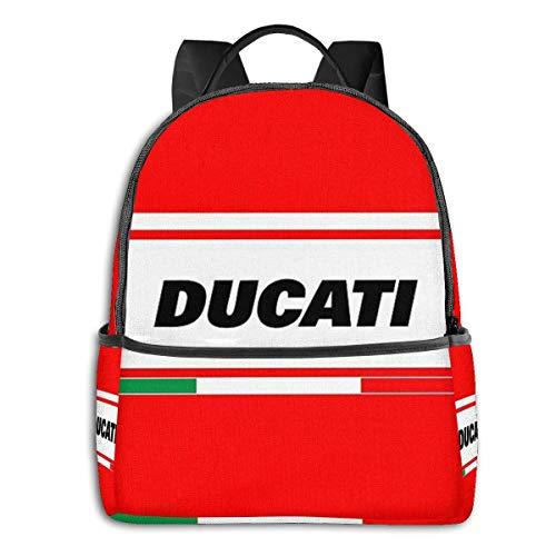 HuangYongHongPODFPO Zaino Ducati Italia Zaino Scuola Unisex Giornaliero Zaino Leggero da Viaggio Casual da Campeggio all'aperto