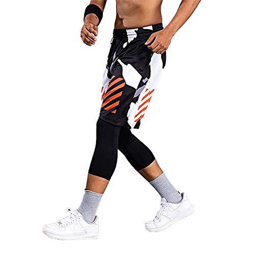 Oukeep Pantaloncini Sportivi da Basket da Uomo di Grandi Dimensioni con Rendering Mimetico Estivo da Uomo Che Eseguono Pantaloncini Fitness da Allenamento