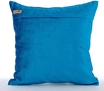 Decorative Silver Sequins Stripes /& Zig Zag Embroidery Throw Pillow Cover 18 Aqua Sea COMINHKR076422