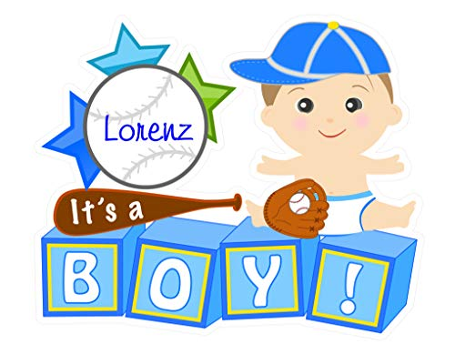 Cute News It's a Boy Outdoor Yard Sign - Custom Baby Lawn Announcement - Welcome Special Delivery Art Decoration - Personalized Shower Stork Decor (Baseball Theme)