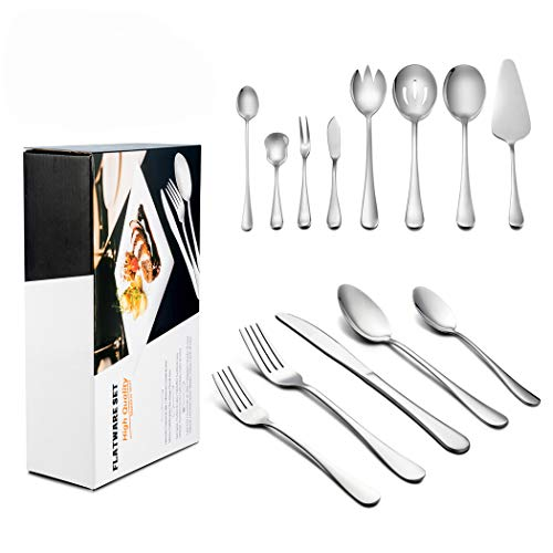 LIANYU 68-Piece Silverware Set with Serving Pieces Service for 12, Stainless Steel Flatware Utensil Set, Dishwasher Safe, Attached 8-Piece Serving Set