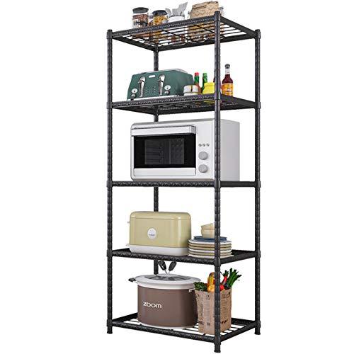 JenLn Rack Organizador de estantería de Cocina Ajustable de 5 estantes, estantería de Cocina, Unidad de estantería de Almacenamiento, Rack de Alambre Organizador de Acero