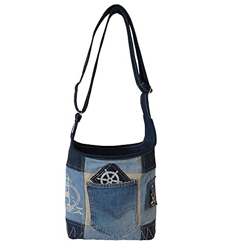 Sunsa Bolso de mano para mujer, bolso de mano, pequeño, de lona sostenible, hecho de tela vaquera reciclada, diseño vintage, para adolescentes, prácticas bolsas de regalo para mujer