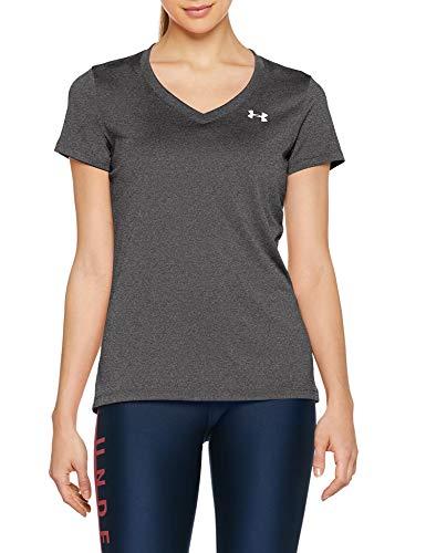 Under Armour Damen Tech Short Sleeve V - Solid, kurzärmliges Trainingsshirt, Grau (Carbon Heather/Metallic Silver), XL