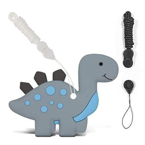 HONGECB Mordedor de Silicona en Forma de Dinosaurio para Bebés, Juguetes Masticables Sensoriales para Autistas, Sin BPA, Alivia el Dolor de Dientes y Encías del Bebé, Estimula la Dentición