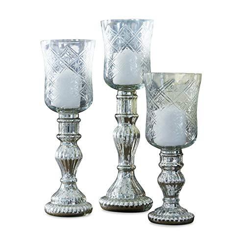 Loberon Windlicht 3er Set Celestin, Glas, H/Ø ca. 31,5/9 cm, antiksilber/klar