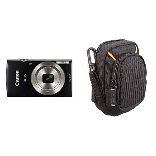 Canon IXUS 185 Fotocamera Digitale Compatta, 20 MP, 1 2.3 , CCD, 5152 x 3864 Pixel, Nero & Amazon Basics Custodia per fotocamera compatta, misura media