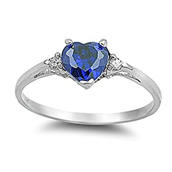 Sac Silver  Sterling Silver Blue Simulated Sapphire  Heart Promise Ring 4