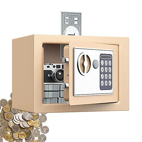 GRTBNH Hucha para NiñOs y Adultos, Hucha ElectróNica de Alta Capacidad con Cerradura de CóDigo y Llaves, DiseñO de Apertura Superior, Caja de Monedas de Metal para Caja de Ahorros