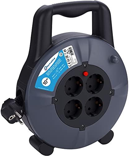 Electraline 49079 Cable Alargador con Enrollacables Domestico 10 M, 4 Tomas Schuko, Cable 10M H05VVF 3G1.5, Negro