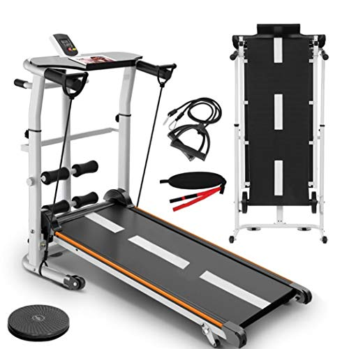 Yinguo Foldable Incline Treadmill, Manual Treadmill Mechanical Jogging Running Walking Machine with LED Display and Phone Holder for Men Women Home Office Gym Cardio Fitness Exercise Workout (A)