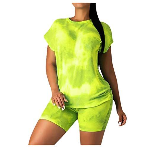 Sommer Batik Trainingsanzug Damen Kurzarm T-Shirts Shorts Freizeit 2-teilig Anzüge GeatestPAK,Gelb,S