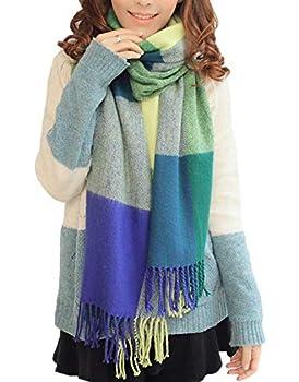 Wander Agio Women s Fashion Long Shawl Big Grid Winter Warm Large Scarf Green