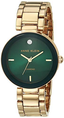 Anne Klein Women's AK/1362GNGB Diamond-Accented Gold-Tone Bracelet Watch