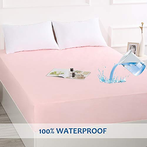Best Season Waterproof Mattress Protecotr,Washable Mattress Cover,Fitted Sheet Style with 14-18 inches Deep Pocket-Hypoallergenic,Breathable,Easy Clean(Pink,Full)