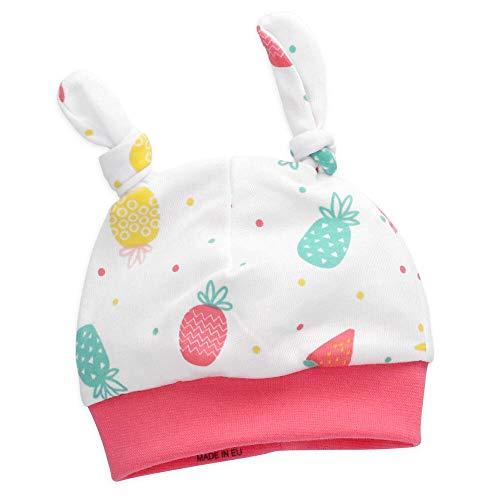 NINI Baby Mädchen Mütze Bio Baumwolle | Motiv: weiß pink Früchte | Babymütze...