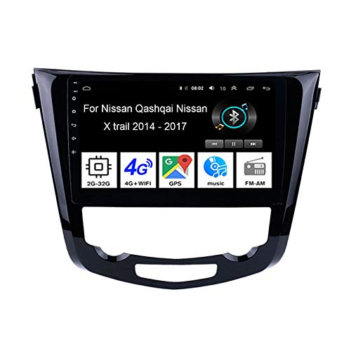 Android Autoradio 9 Pulgadas Coche Radio De Coche Pantalla Tactil para Nissan Qashqai Nissan X Trail 2014-2017 4 Cores 2G+32G para De Coche Conecta Y Reproduce Autoradio Mit Bluetooth