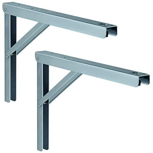 Gedotec Klappkonsole 400 mm Tisch-Verlängerung klappbar Tischkonsole PROFI LINE aus Stahl | Metall-Konsole verstellbar | Tragkraft 180 kg | MADE IN GERMANY | 2 Stück - Schwerlast-Klappträger