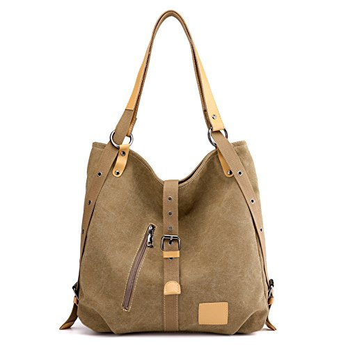 CMZ Backpack Ladies Canvas Backpack Shoulder Bag Multi-Purpose Backpack Large Capacity Travel Handbag Fashion with Leather