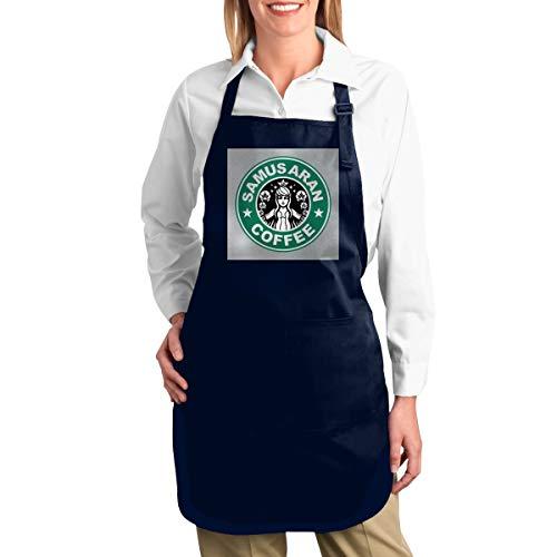 NULLIAHSGB Metroid Starhunt Samus Aran Kaffee, strapazierfähige Arbeitsschürze, Werkzeugtaschen, Rückengurte verstellbar
