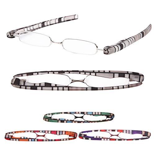 老眼鏡 携帯用 プレミアムカラー 超軽量 おしゃれなリーディンググラス[Pod Reader]ユニセックス 眼鏡ケース不要[PrePiar] (+2.5, グレー)