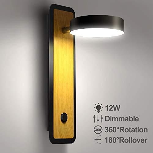 Lightess Applique da Parete Interno Moderno Lampada da Parete LED Dimmerabile 12W Creativo Luce da Parete 360° e 180° Ruotabile Lampada a Muro per Soggiorno Camera da Letto Corridoio Scale, Nero