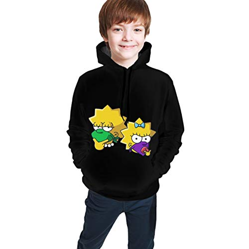 The Simp-Sons Li-Sa and Mag-Gie Teen Hooded Sweate Sweatshirt Pullover Cute Prime Aesthetic for Boys Girls Kids 18-20 Years Black