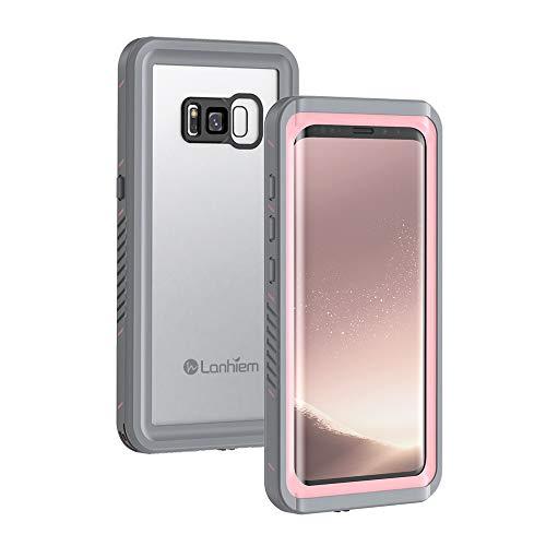 Lanhiem Funda Impermeable Samsung S8, Carcasa Sumergible Resistente Al Agua IP68 Certificado [Protección de 360 Grados], Carcasa para Samsung Galaxy S8 con Protector de Pantalla Incorporado, Rosa