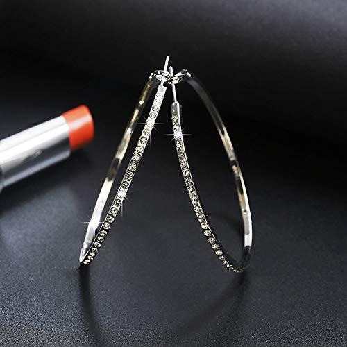 HoopsEarringsForWomen,Silver Vintage Punk Zircon Big Hoop Pierced Earrings Hypoallergenic Lightweight Hoop Ring Circle Jewelry Earrings For Women Girls Party Wedding