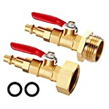 GOLDPAR Winterize Blowout Adapter Kit with 1/4 Inch Male Quick Connecting Plug and 3/4 inch Male GHT Thread,Winterize Quick Adapter with Ball Valve for Blowing Out Water to Winterize Water Lines