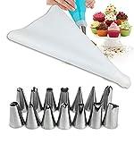 Chirs ofrece 16 piezas / Set de bolsas de confitería con boquillas para glaseado de acero inoxidable para decoración de tartas y pasteles