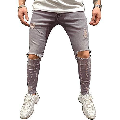 Chickwin Vaqueros Hombre Regular Recta, Classic Stretchy Bootcut Confort Jeans Elasticos Ajuste Relajado Bolsillo Grande Denim Casuales Pants (Gris Claro,XL)