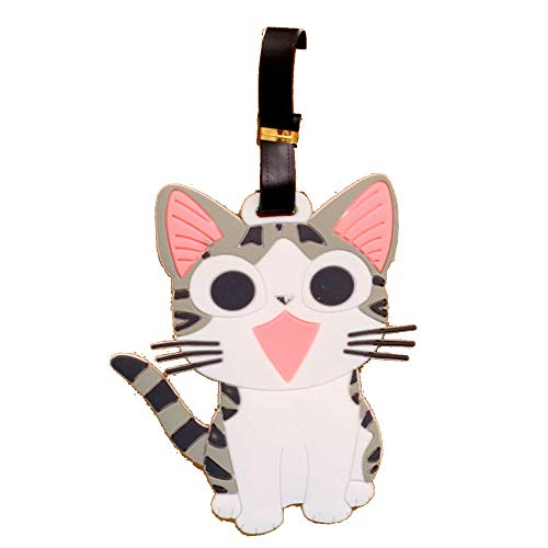 Happy Star Grey Kitten Cat Fashion Luggage Tags Cute Holiday Suitcase Labels Travel Bag Identity ID (1 pk)