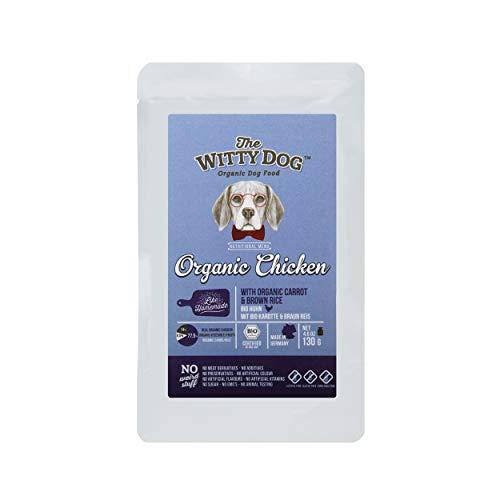 THE WITTY DOG Nourriture Chiens Humide 100% Certifiée Bio,Menu Biologique Complet,: Poulet (77.5%) avec Carotte & Riz Brun, Sachets 15x 130 GR. (Une Seule Protéine Animale, Human Grade)