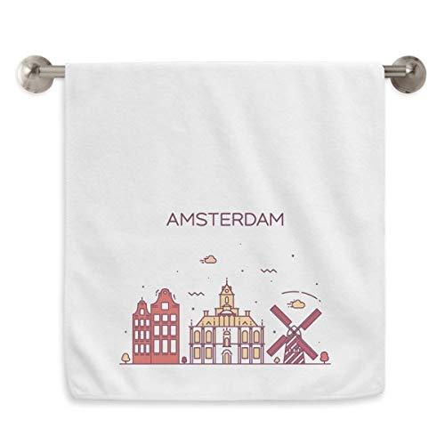DIYthinker Amsterdam Flat Landmark Circlet Wit Handdoeken Zachte handdoek Wasdoek 13X29 Inch