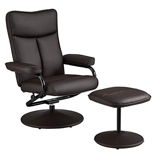 [en.casa] Relaxsessel mit Hocker Fernsehsessel inkl. Liegefunktion TV Sessel Kunstleder braun