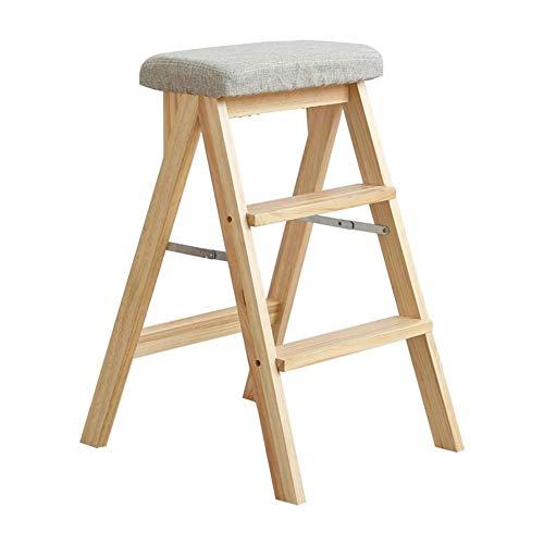 LZQBD Stegpallar, stege pall lager stark vikbar säkerhet halkfri fotdyna dubbel användning stege stol andra beställningen, massivt trä, B, 42 x 48 x 63 cm