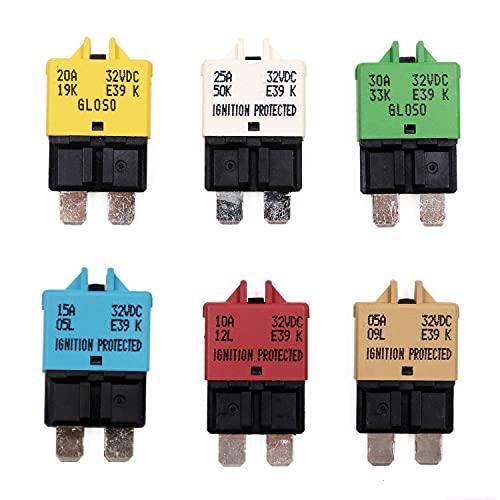 T Tocas Manual Reset Low Profile ATC Circuit Breakers 12V - 32V DC 5A 10A 15A 20A 25A 30A (Mixed)