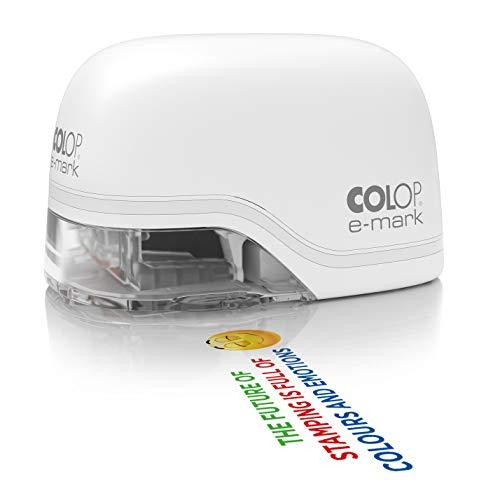 COLOP e-mark weiß Mobiler Drucker für Profis bis zu 5.000 mehrfarbige Abdrucke inkl. kostenloser App Datums-, Uhrzeit- und Nummerierungsgenerator