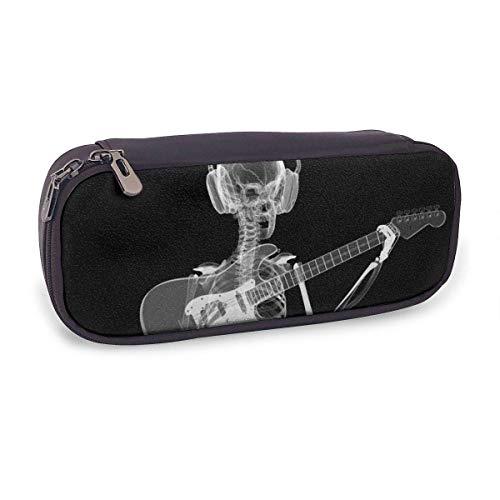 Bleistiftetui Abstraktes Röntgenschädel-Skelett Spielgitarre Gitarre mit großer Kapazität Bleistiftbeutel aus Leder Multifunktionsbriefpapier Stiftbox Make-up-Tasche