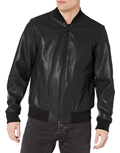 DKNY Men's Leather Bomber Jacket, Black - Rugged Lamb Faux PU, Medium